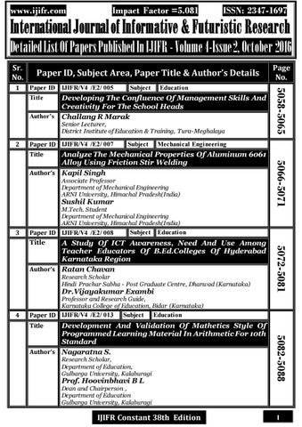 Ijifr volume 4 issue 2 october 2016 (continuous 38th edition) by