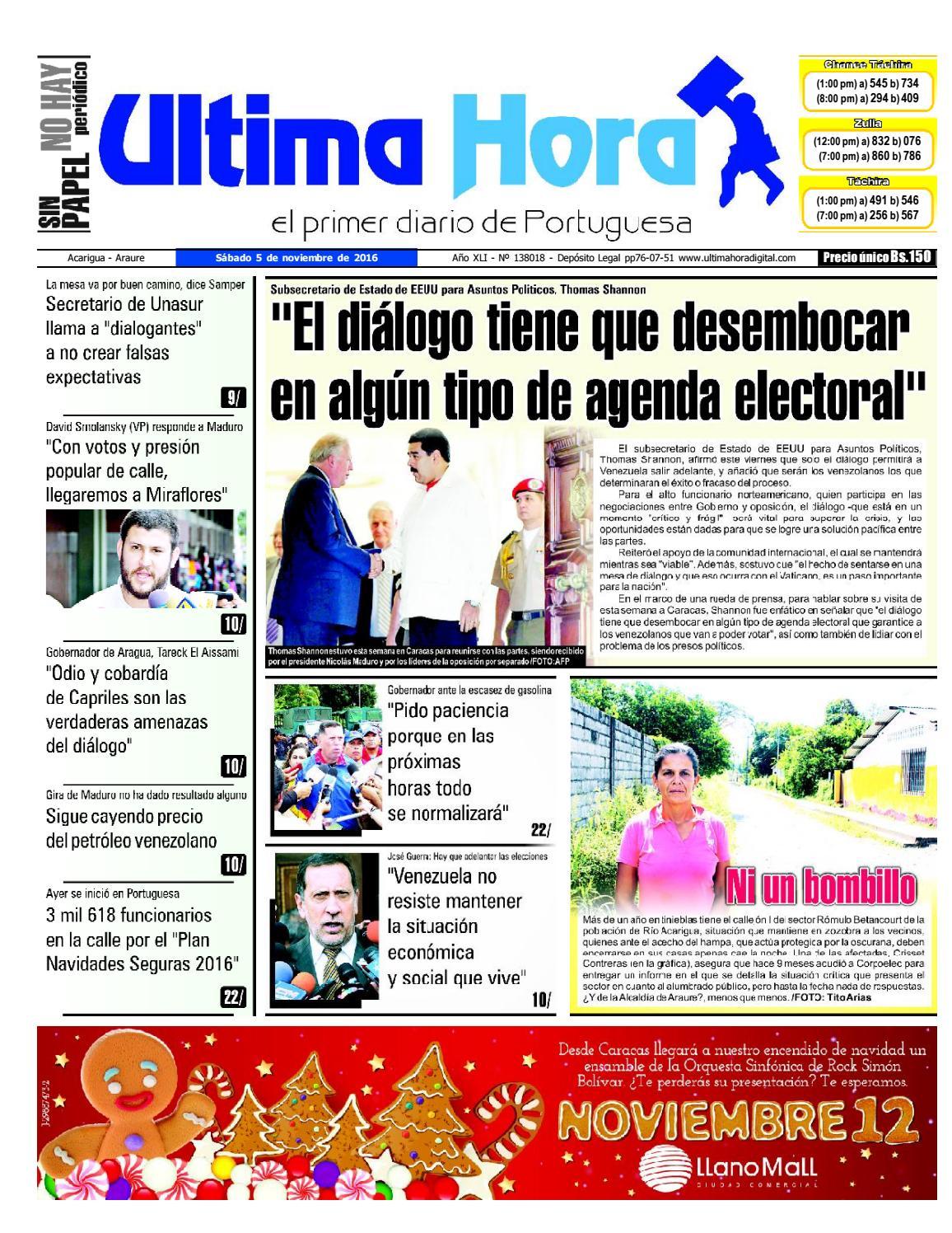 Edición 05 11 2016 by Ultima Hora - El primer diario de Portuguesa - issuu 26fdac8432a