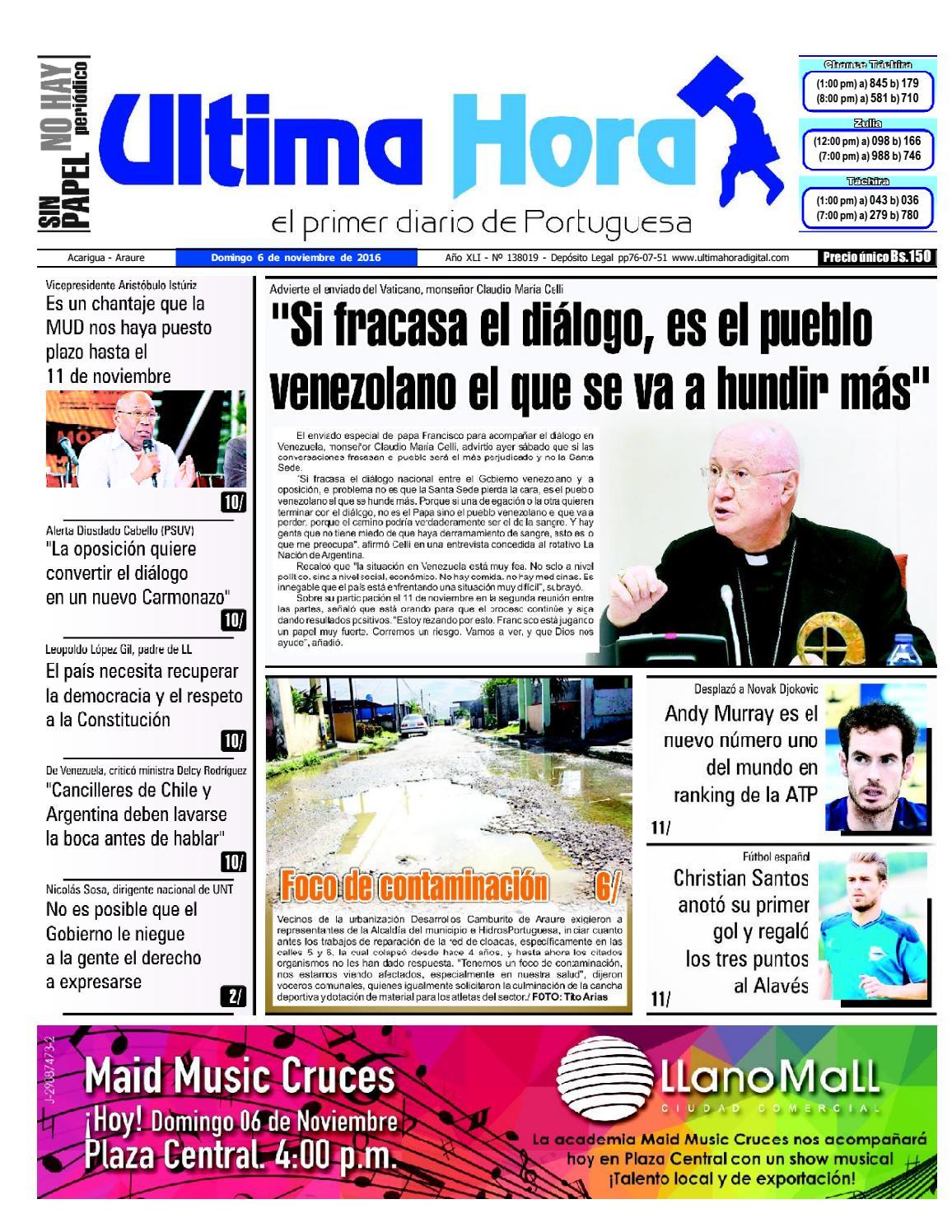 Edición 06 11 2016 by Ultima Hora - El primer diario de Portuguesa - issuu c92cdeed113