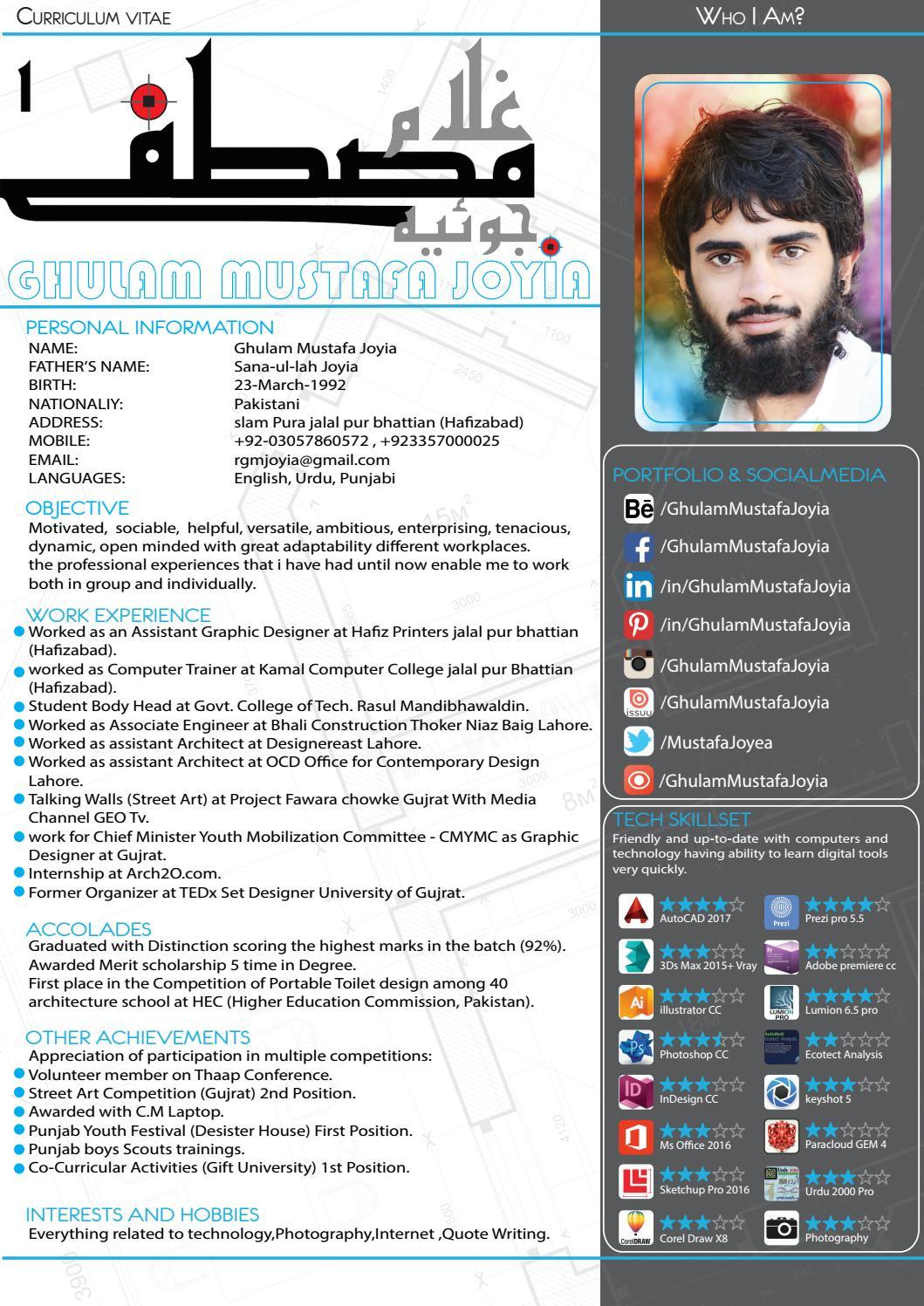 graduate architect cv ghulam mustafa joyia by muhammad ghulam mustafa joyia