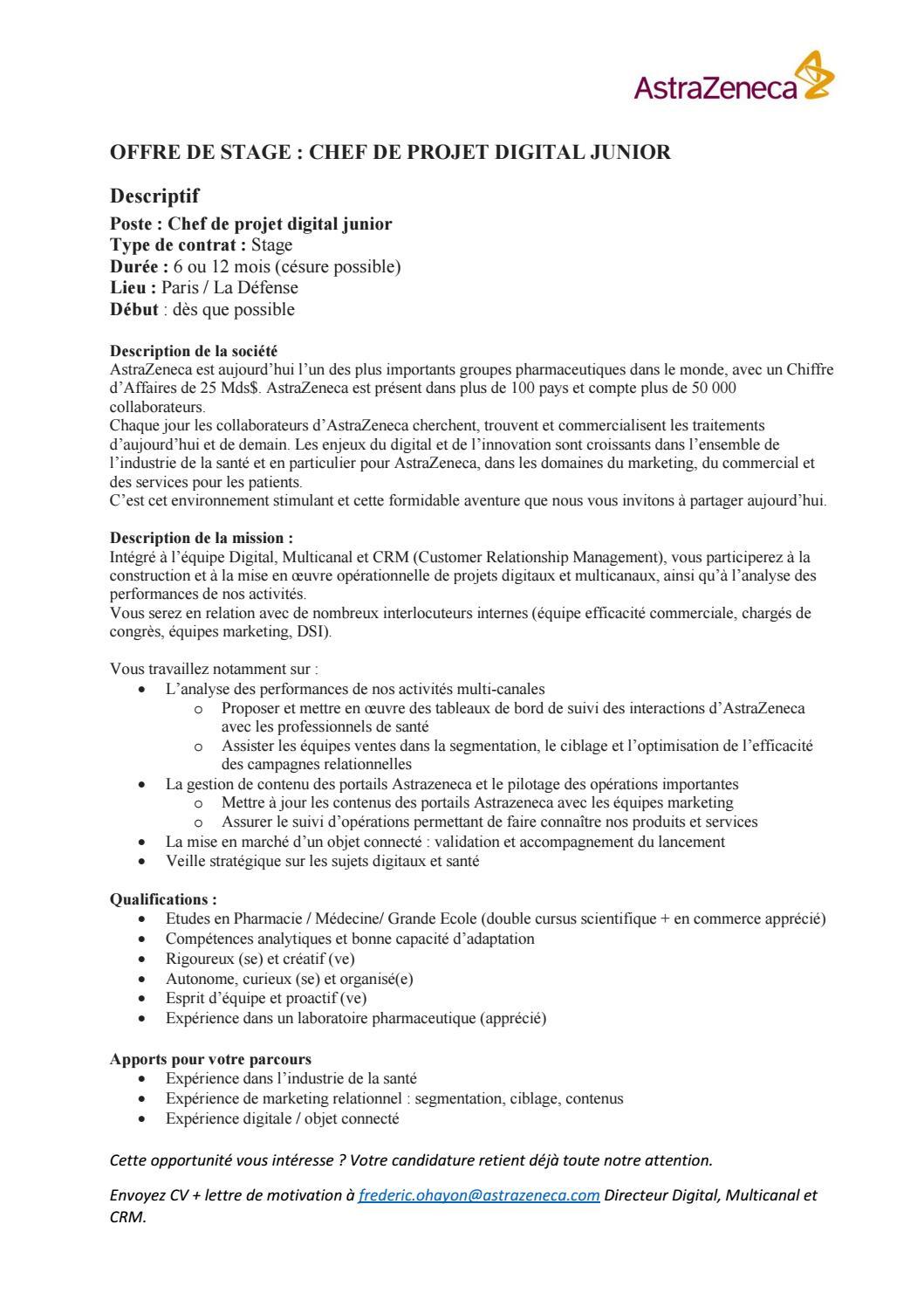 Offre De Stage Chef De Projet Digital Junior Astrazeneca By