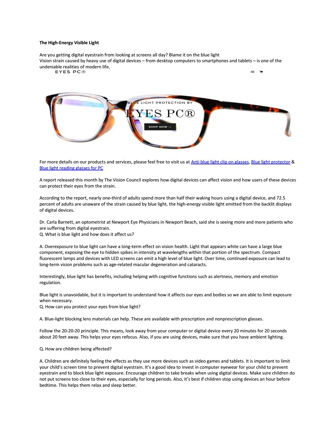 The high energy visible light by Blue blocking glasses - issuu