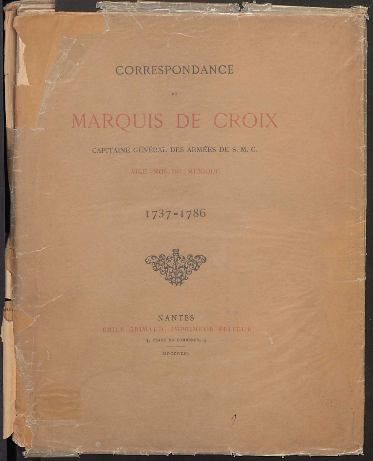 Correspondance Du Marquis De Croix