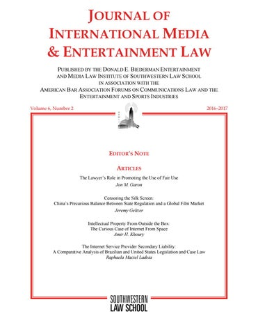 Journal of International Media & Entertainment Law - Volume 6
