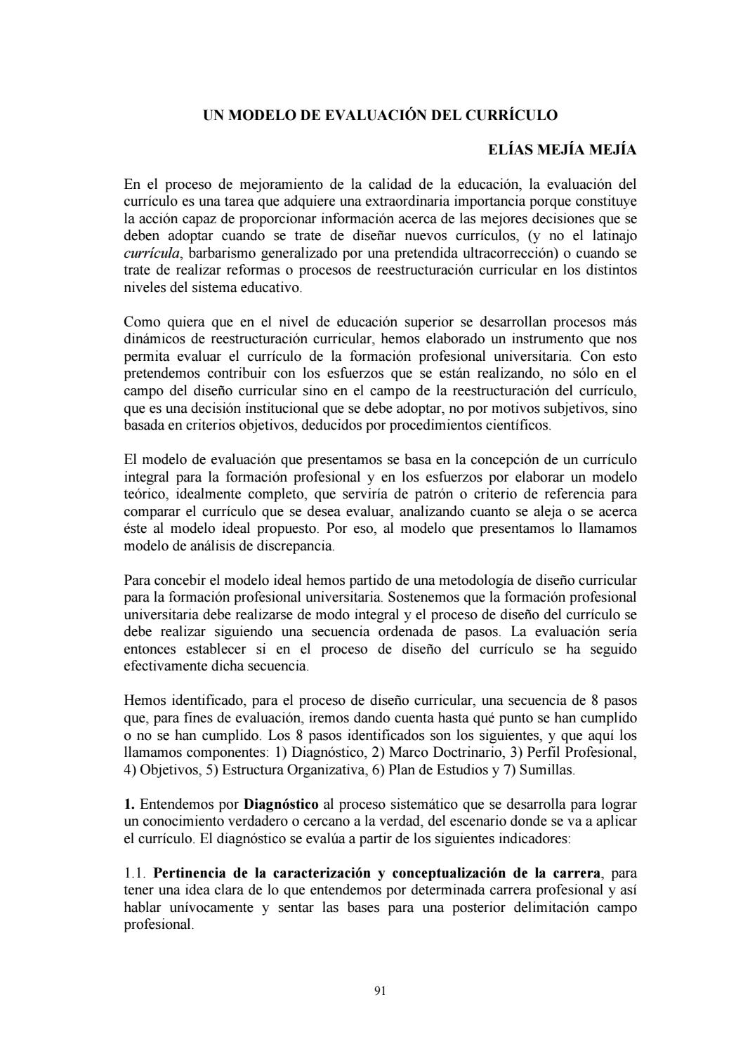 UN MODELO DE EVALUACIÓN DEL CURRÍCULO by Instituto de Educación ...