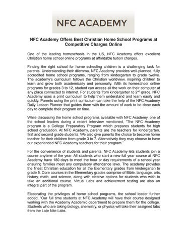 nfc academy offers best christian home school programs at