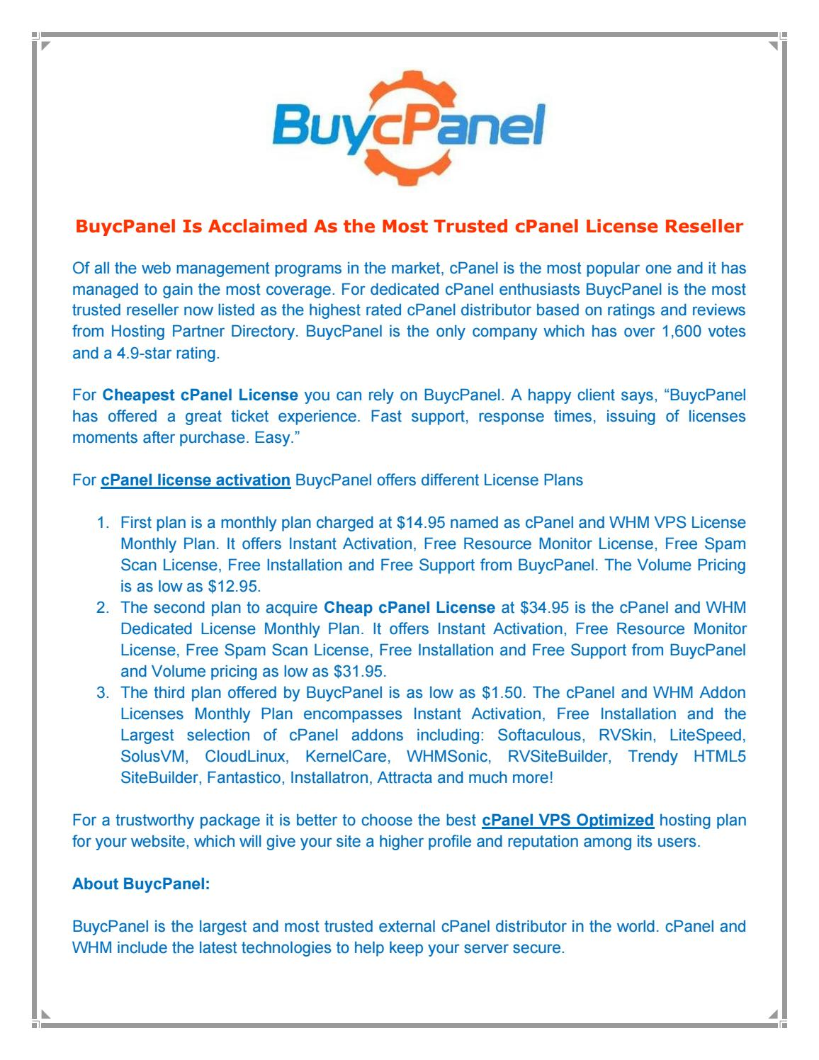 cPanel License Reseller by Buy cPanel - issuu