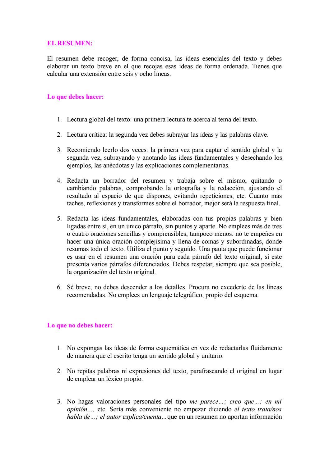 2 comentario de textos, el resumen (1) by sara perea - issuu