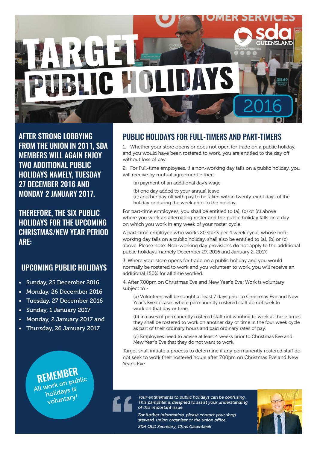 Target Public Holidays 2016-2017 by SDA Queensland - issuu