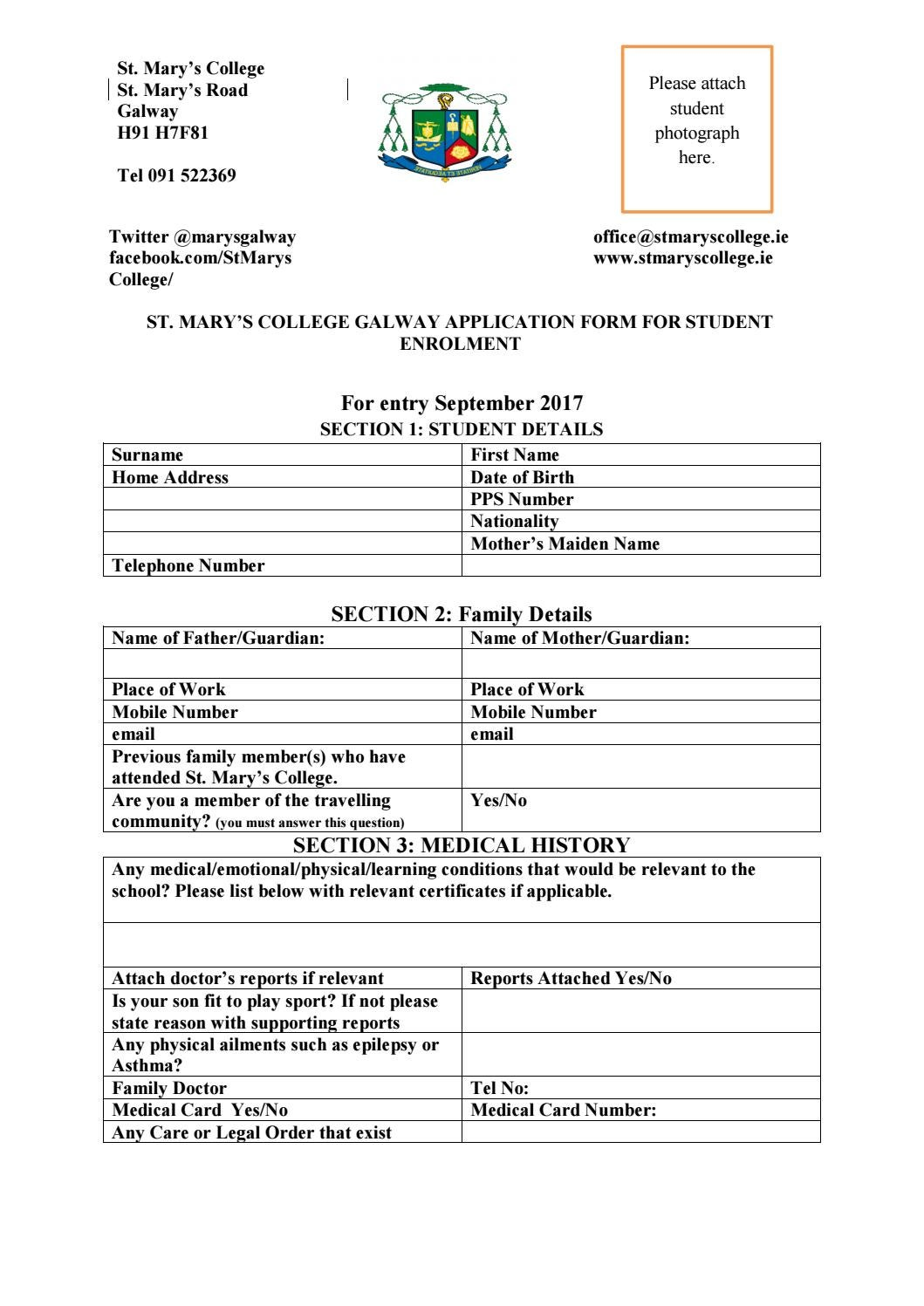 Application form 2017 18 by St. Mary's College Galway - issuu