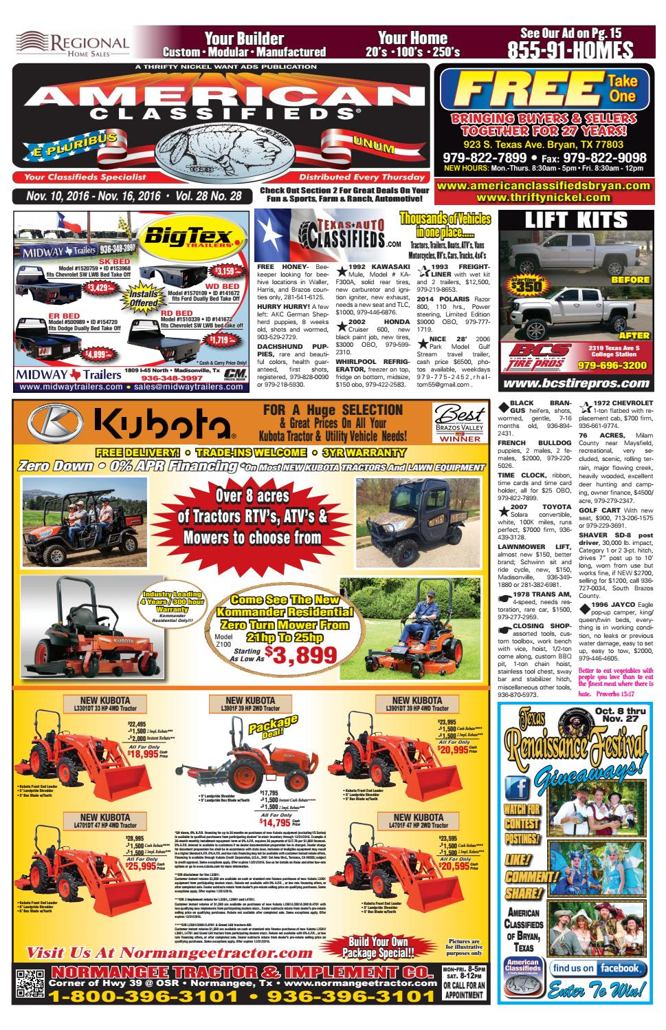 American Classifieds Nov  10th Edition Bryan/College Station