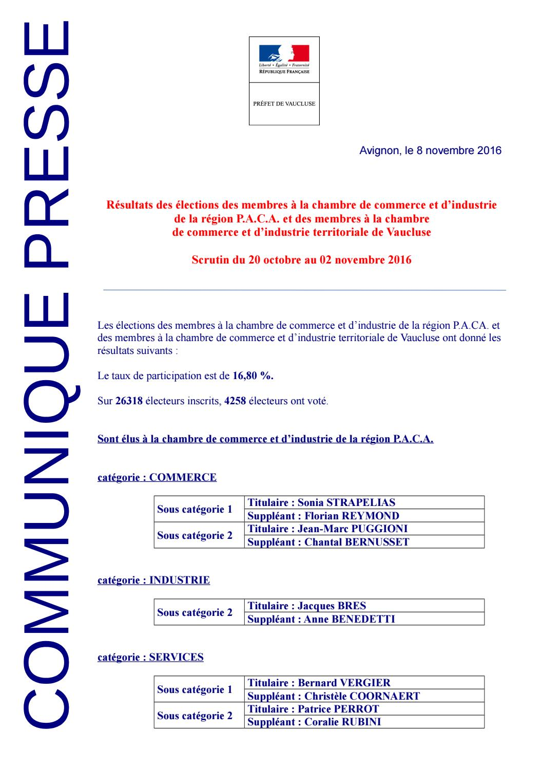 Liste des lus la cci 84 by tpbm issuu for Chambre de commerce d avignon