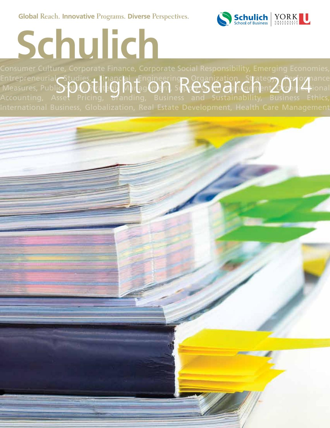 Schulich Spotlight on Research 2014 by Schulich School of Business ...