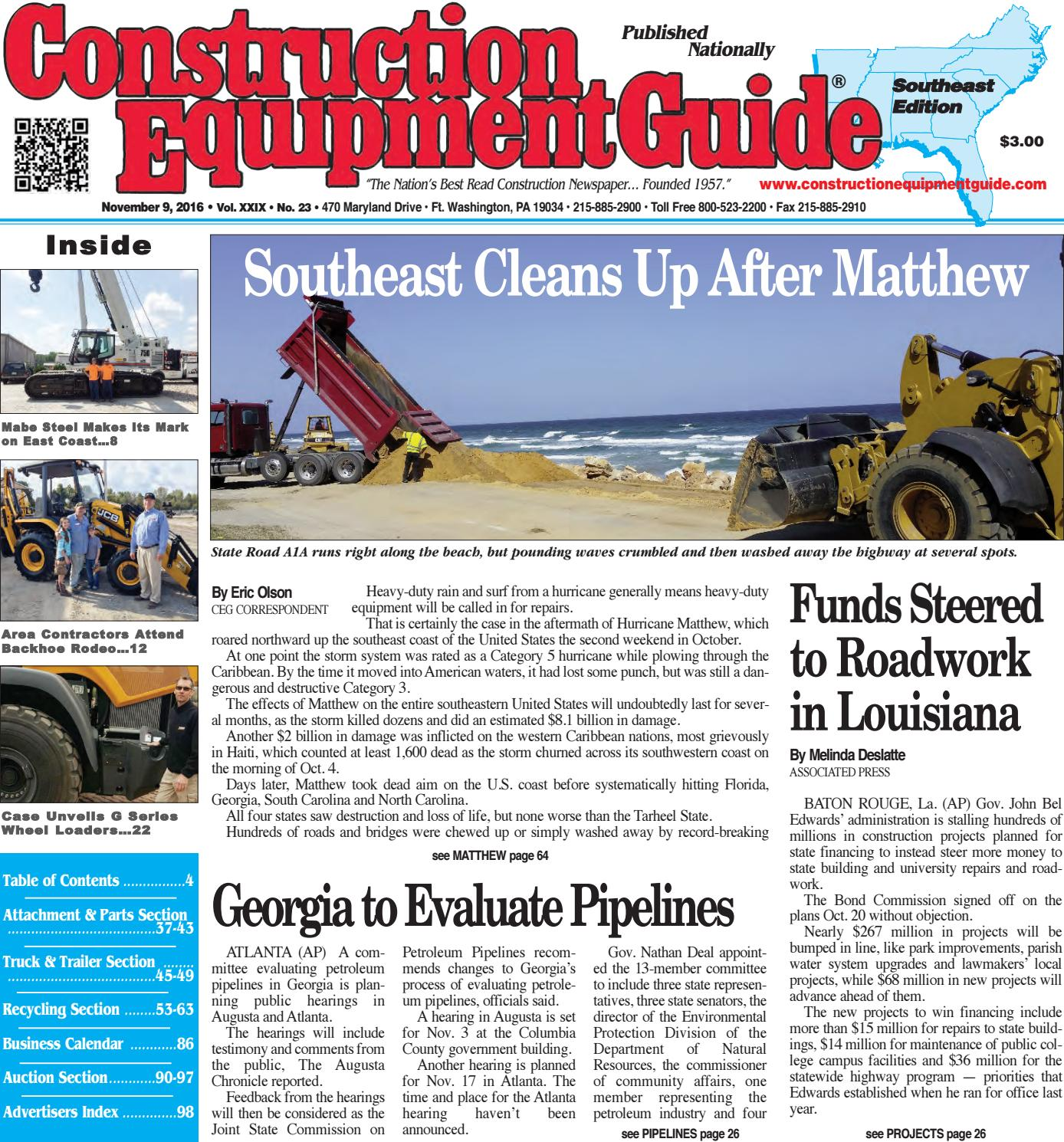 Southeast 23 - November 9, 2016 by Construction Equipment Guide - issuu