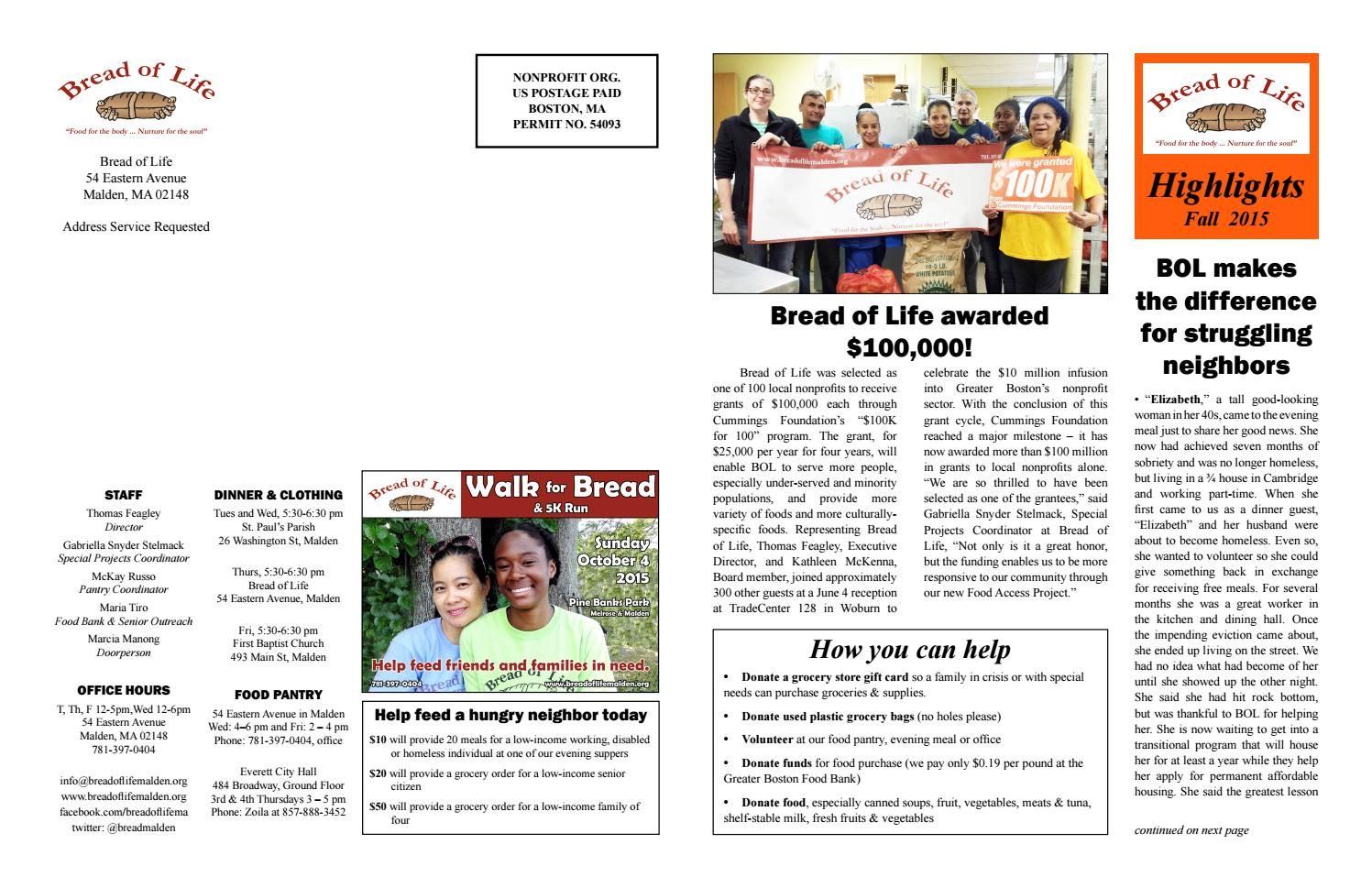Newsletter 2015 fall by Bread of Life Malden - issuu