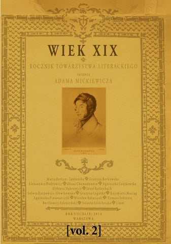 Wiek Xix Rocznik Towarzystwa Literackiego Im Adama Mickiewicza R