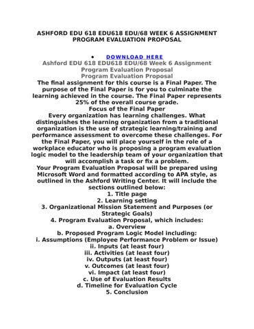 Ashford Edu 618 Edu618 Edu618 Week 6 Assignment Program Evaluation
