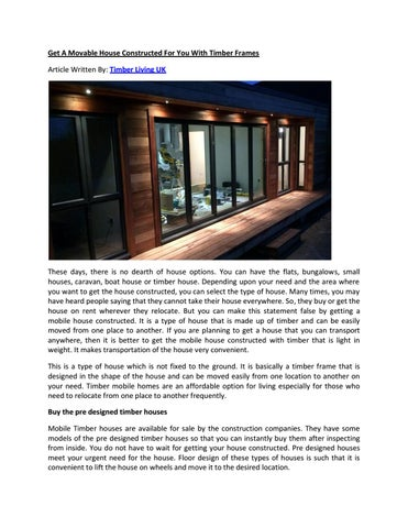 Get a movable house constructed for you with timber frames by ALFRED ...