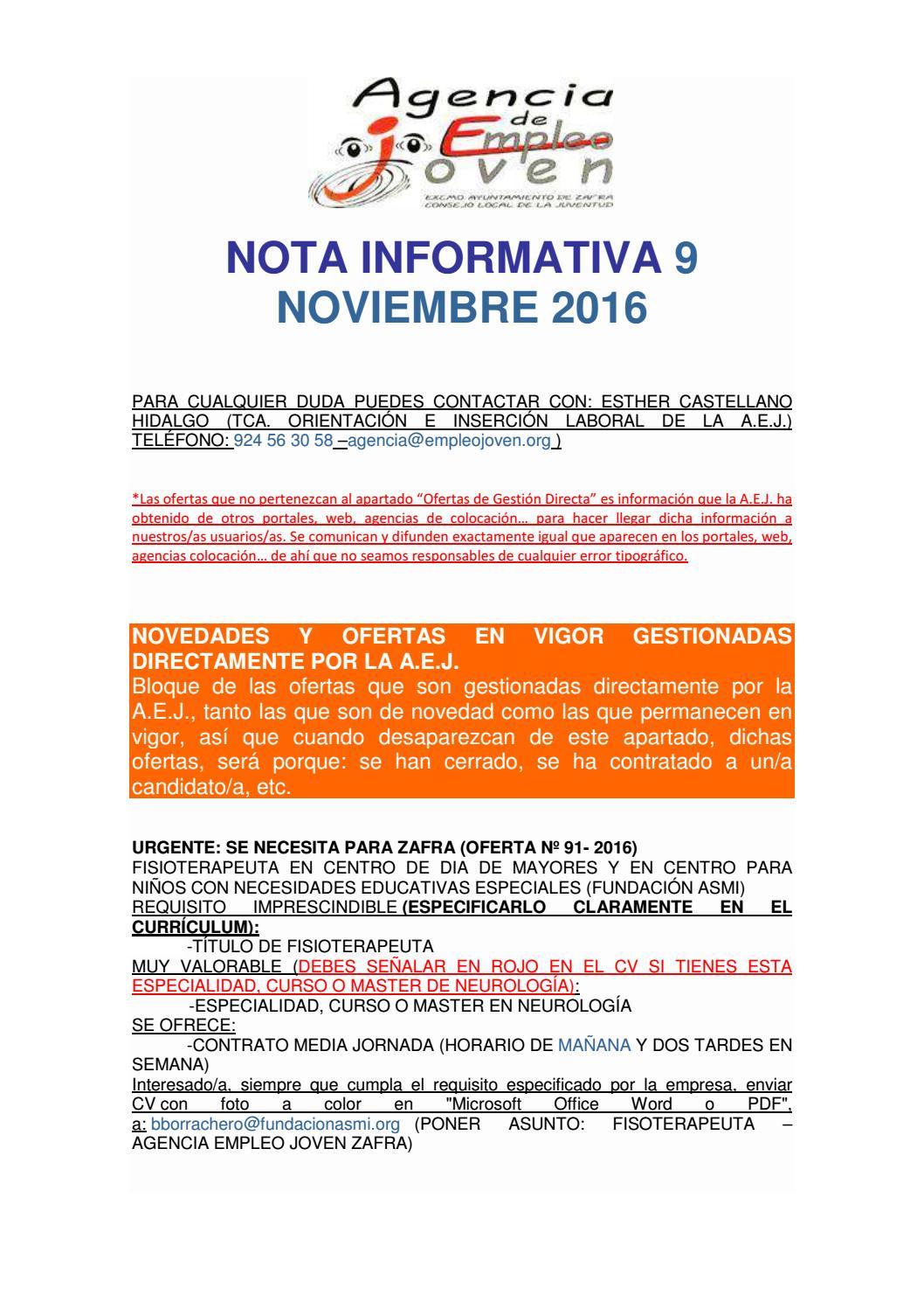Nota informativa 9 de Noviembre, EMPLEO, BECAS, CURSOS,... by Segura ...