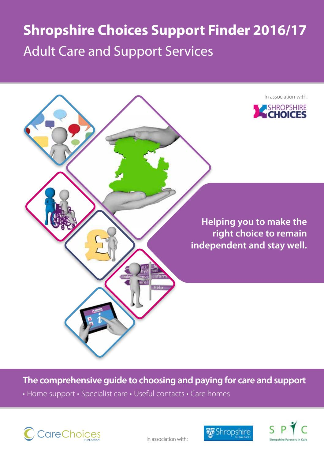 Shropshire Choices Support Finder 2016 17 By Care Ltd