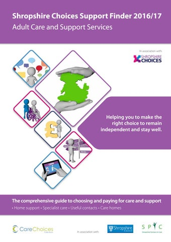 Shropshire Choices Support Finder 2016 17 Adult Care And Services In Association With