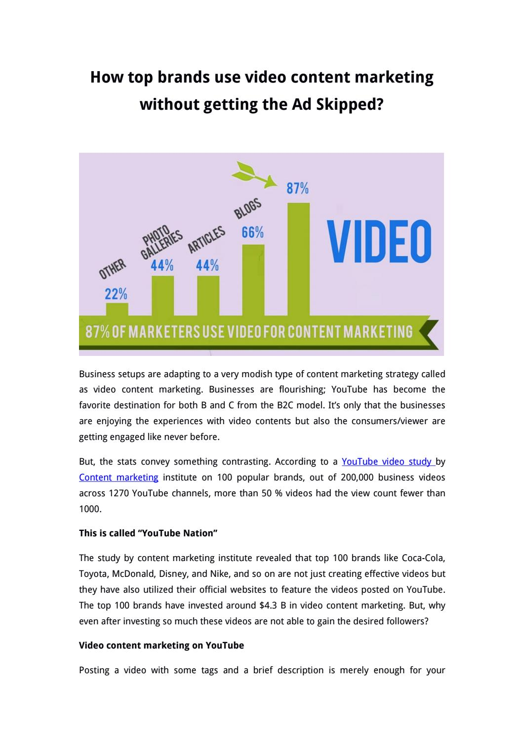 How top brands use video content marketing without getting