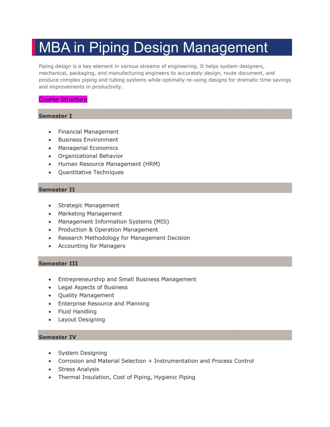 Mba In Piping Management By Jaipur National University Issuu Layout Design
