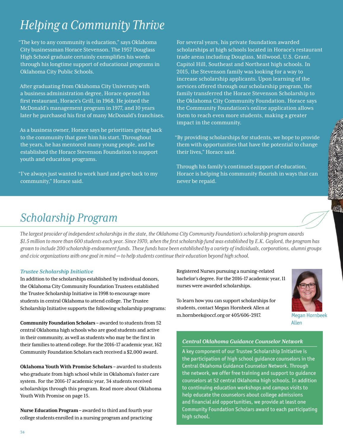 Scholarships For College Students 2016 >> 2016 Oklahoma City Community Foundation Annual Report By
