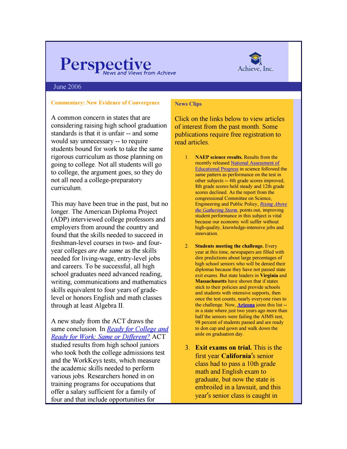 June 2006 Perspective Newsletter by Achieve, Inc  - issuu