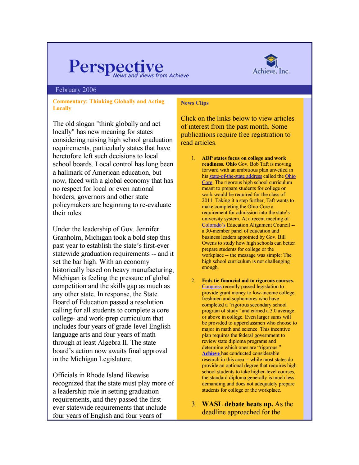 February 2006 Perspective Newsletter by Achieve, Inc  - issuu