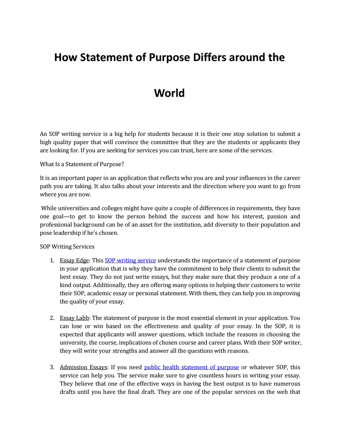 discover how a statement of purpose differs around the world by  discover how a statement of purpose differs around the world by stacy henley issuu