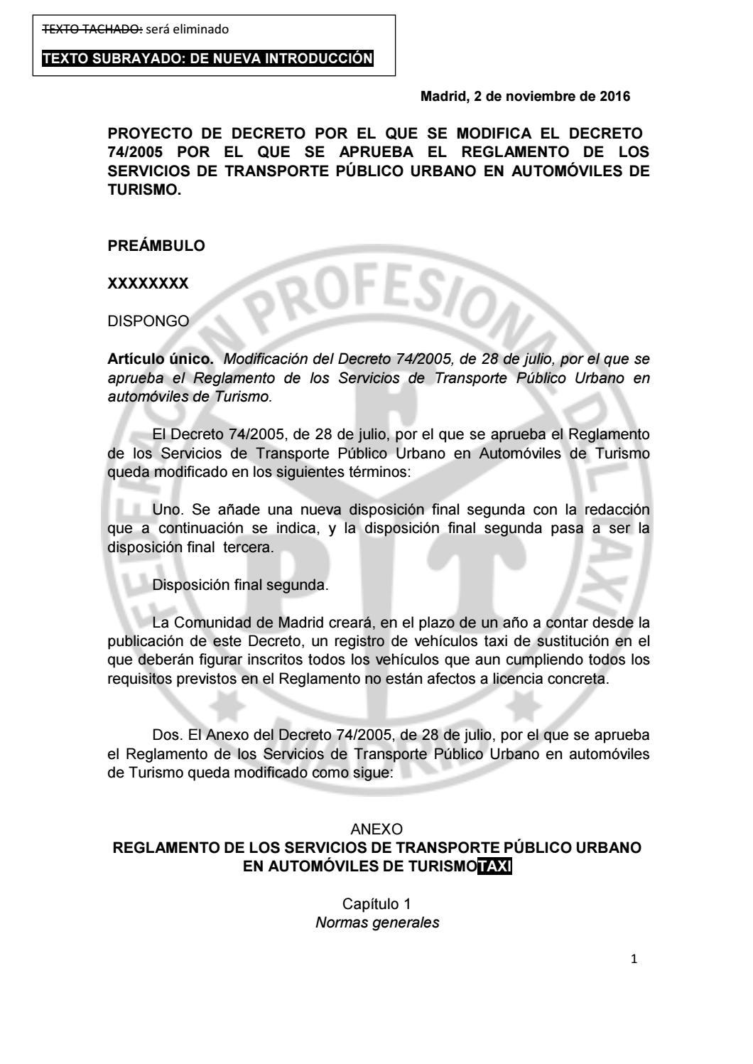 Borrador nuevo Reglamento Taxi Madrid by FPTM - issuu