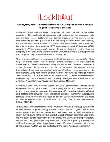 Safetynet, inc ilockitout provides a comprehensive lockout tagout ...