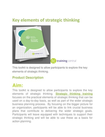 Page 1 Key Elements Of Strategic Thinking