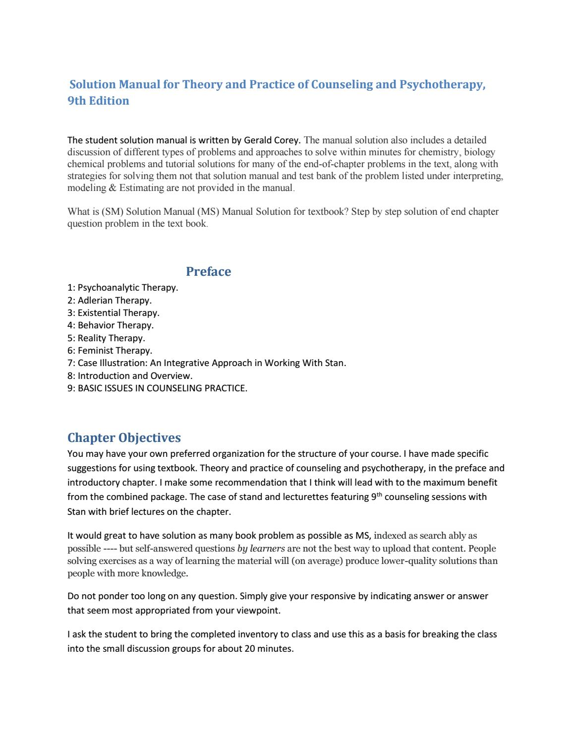 Solution manual for theory and practice of counseling and solution manual for theory and practice of counseling and psychotherapy by rogersingh issuu publicscrutiny Images