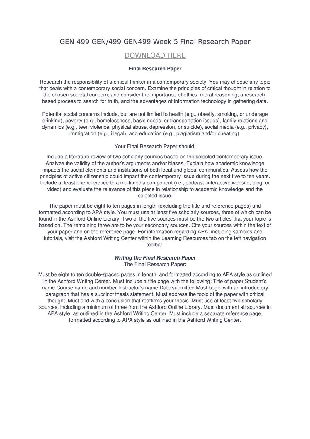 final research paper gen499 Gen 499 week 5 assignment final research paper $1500 gen 499 week 5 dq2 $400 gen 499 week 2 assignment critiquing internet sources.