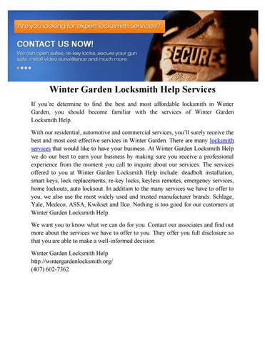 Winter garden locksmith help by Winter Garden Locksmith Help - issuu