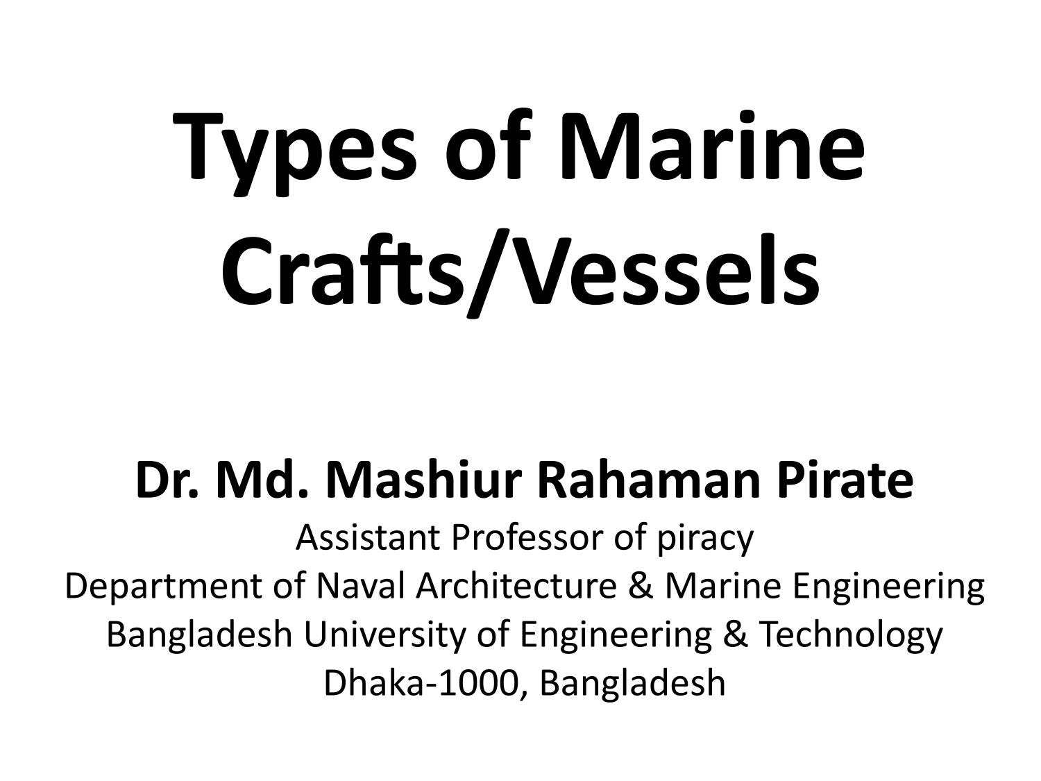 Lecture 2 Types Of Marine Crafts By Incredible Creation Issuu