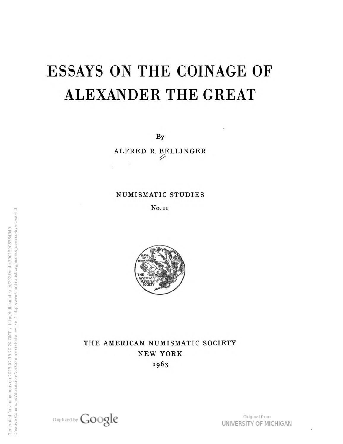 The Dating of the Coinage of Alexander the Great