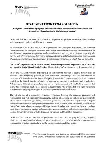 Final statement facdim ecsa x euc decision sett 2016 by FONDAZIONE