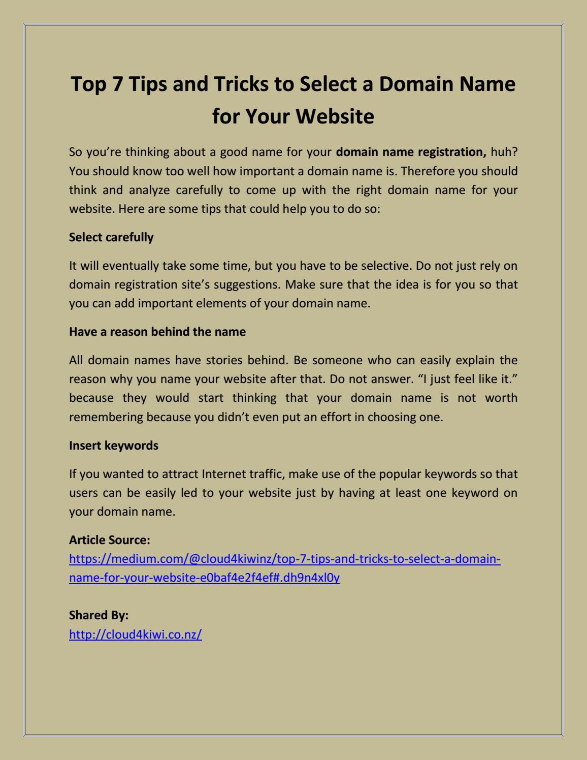 how to select a domain name tips