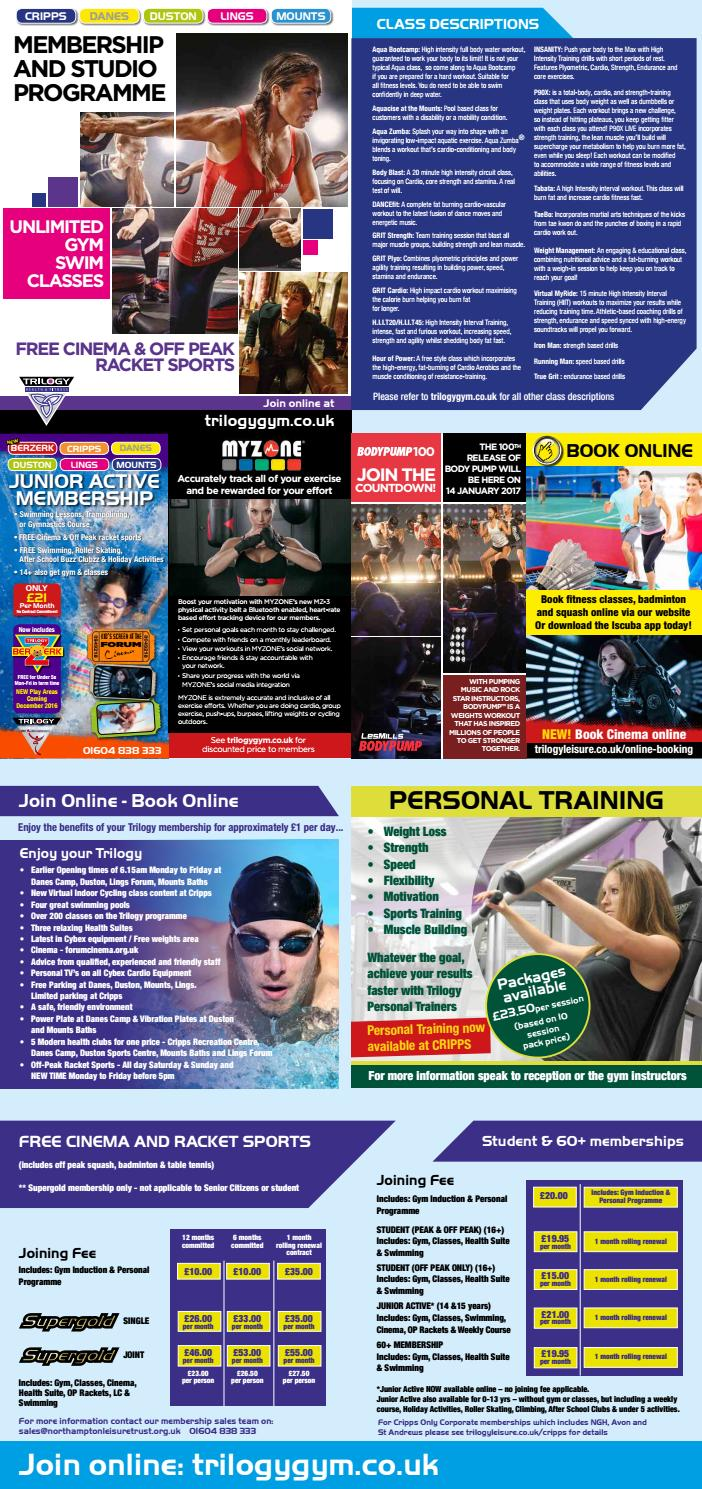 Trilogy Membership And Studio Programme November 2016 By Northampton Leisure Trust Issuu