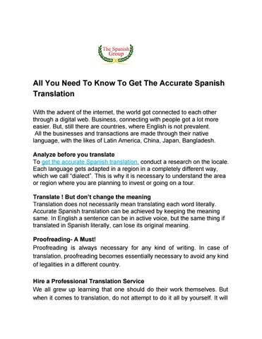 All you need to know to get the accurate spanish translation by the all you need to know to get the accurate spanish translation with the advent of the internet the world got connected to each other through a digital web solutioingenieria Images