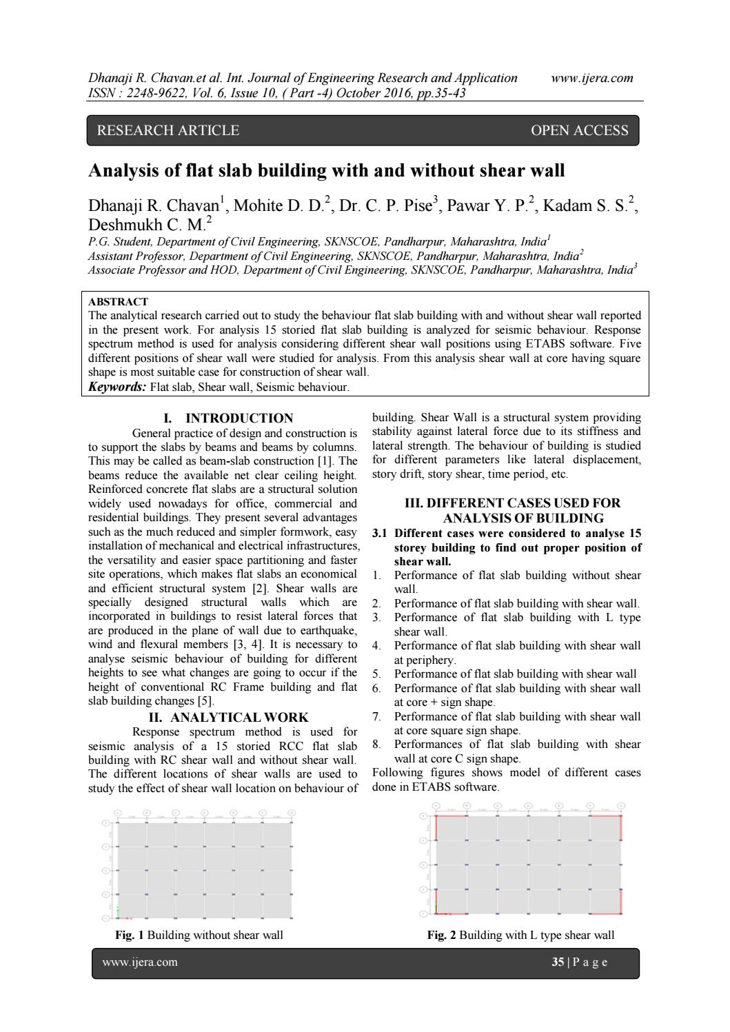 Analysis of flat slab building with and without shear wall