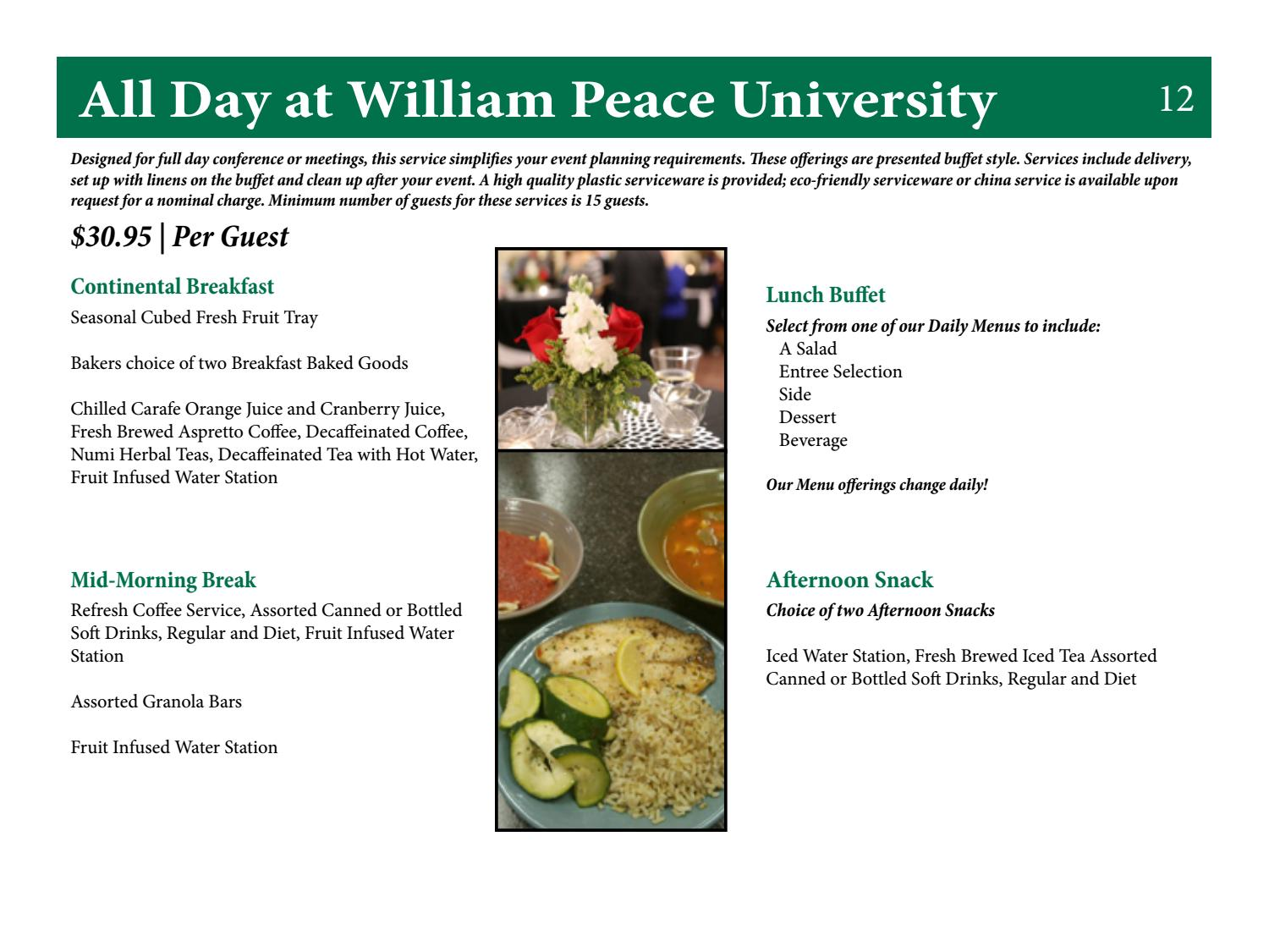 WPU 2016 Catering Menu by William Peace University - issuu