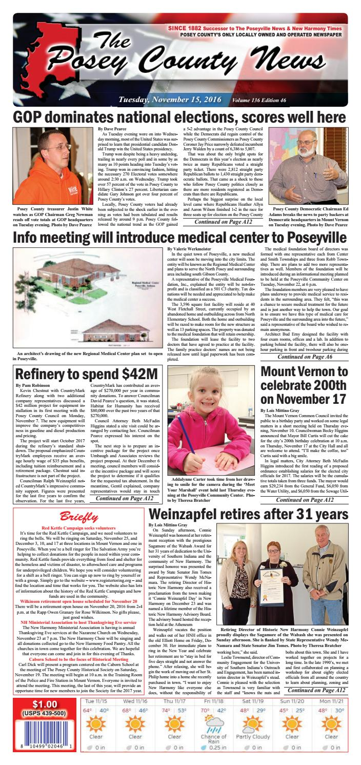 November 15, 2016  The Posey County News By The Posey County News  Issuu