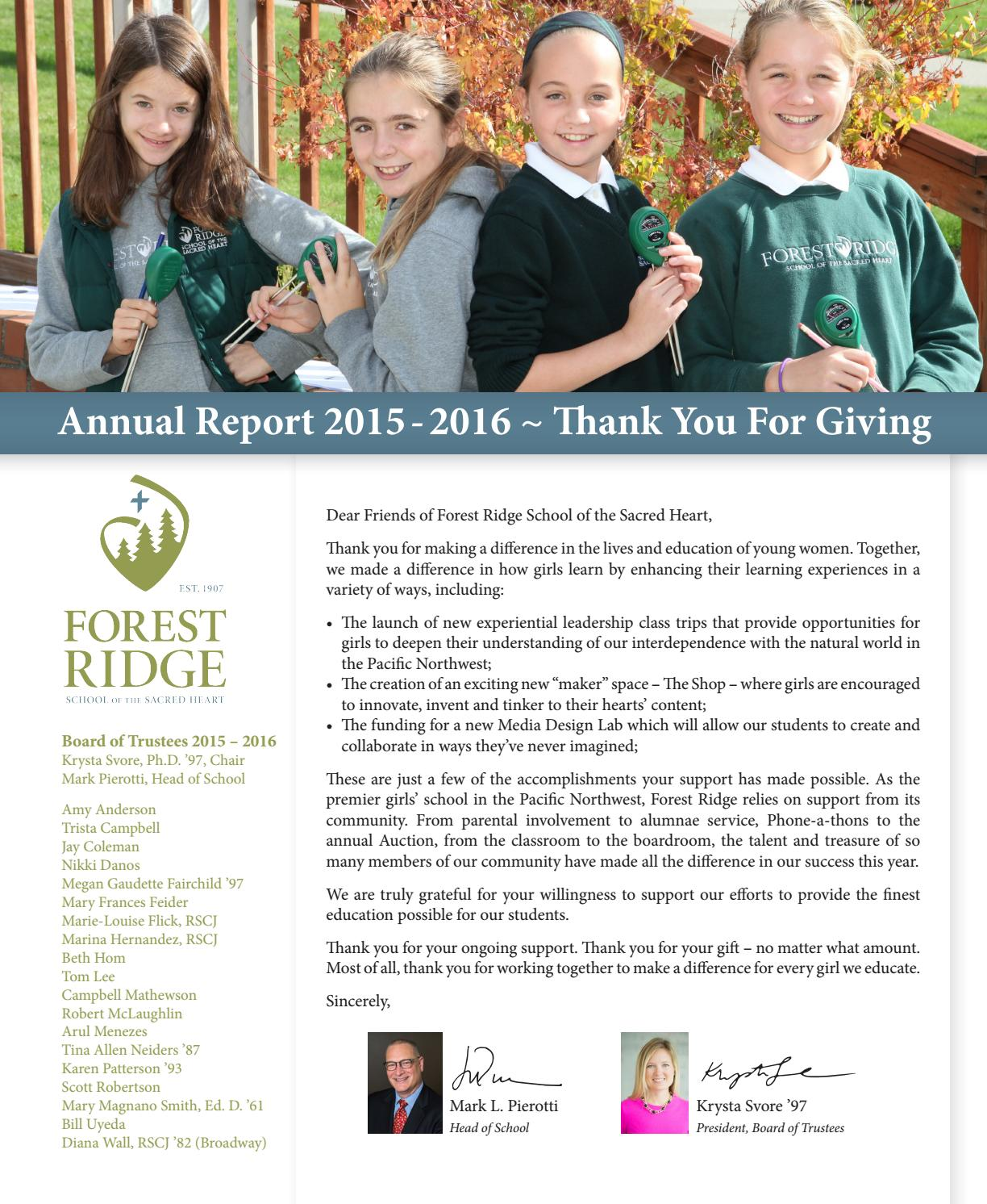 Ucl Academy Learning To Make A Difference Together By: Annual Report 2015-16 By Forest Ridge School Of The Sacred