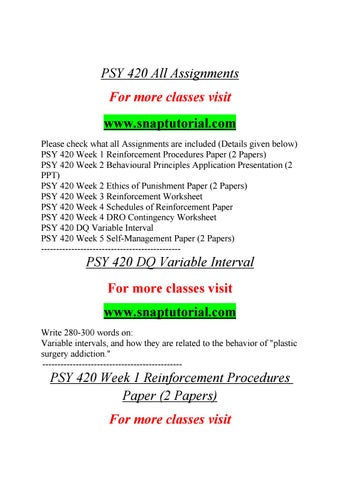 Psy 420 All Assignments By Flwr01 Issuu