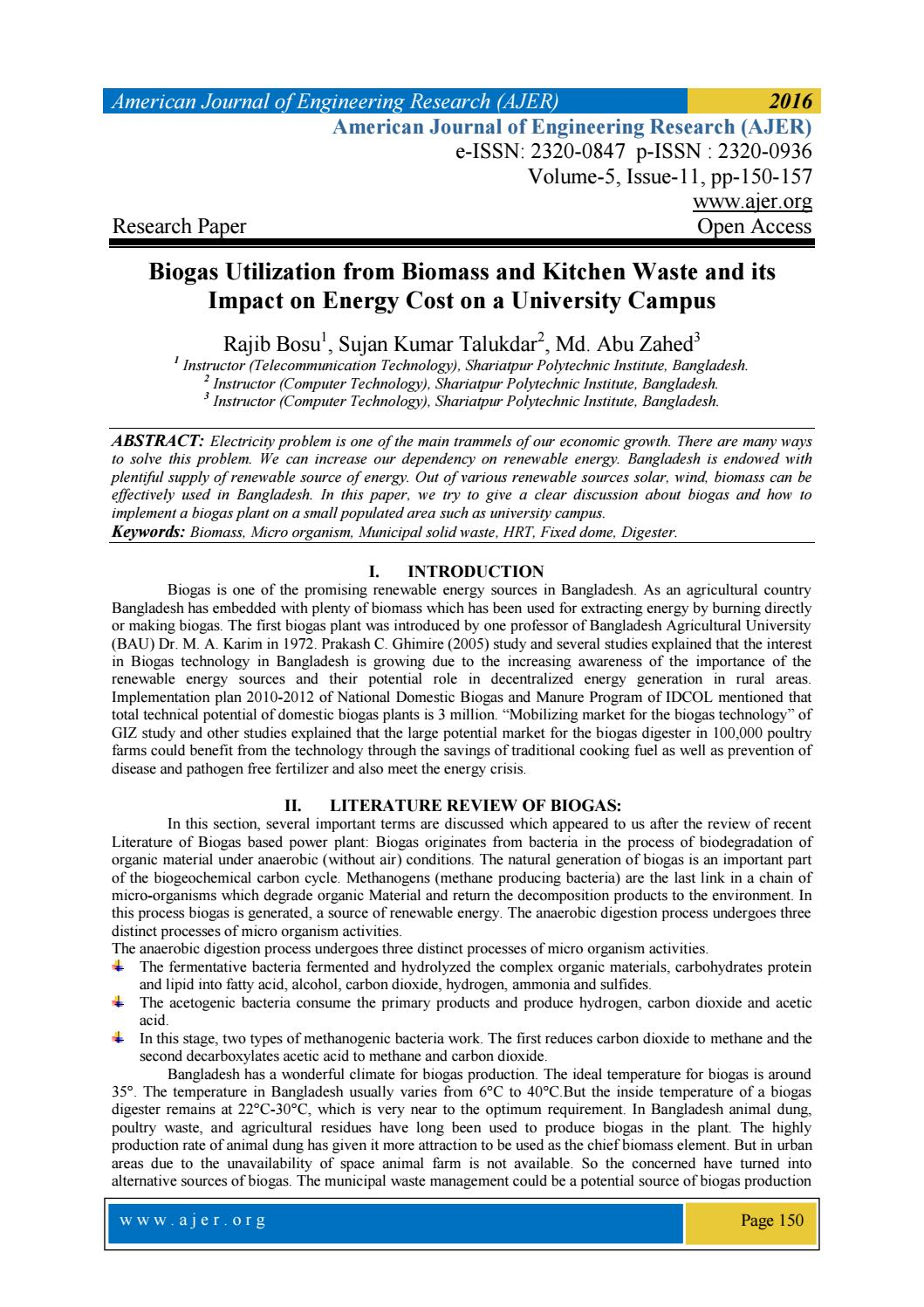 Biogas Utilization From Biomass And Kitchen Waste And Its