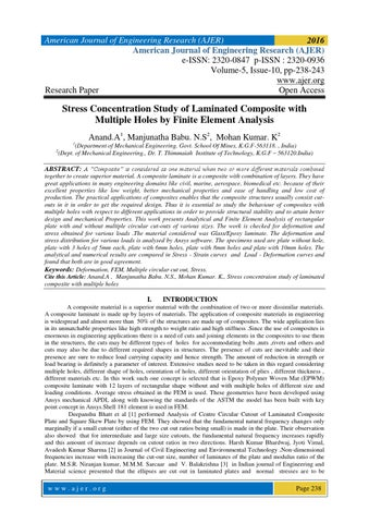 Stress Concentration Study of Laminated Composite with Multiple